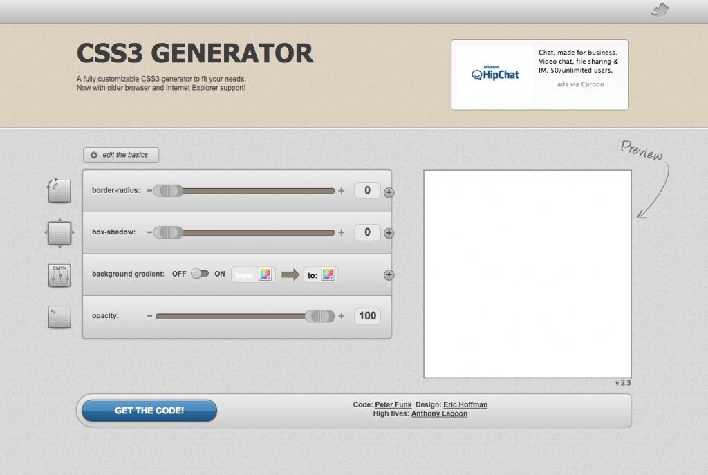 「【CSS3 GENERATOR】CSS3の値をビジュアル上で操作して角丸、グラデーションなどのCSSを簡単に作れるウェブサービス」のイメージ