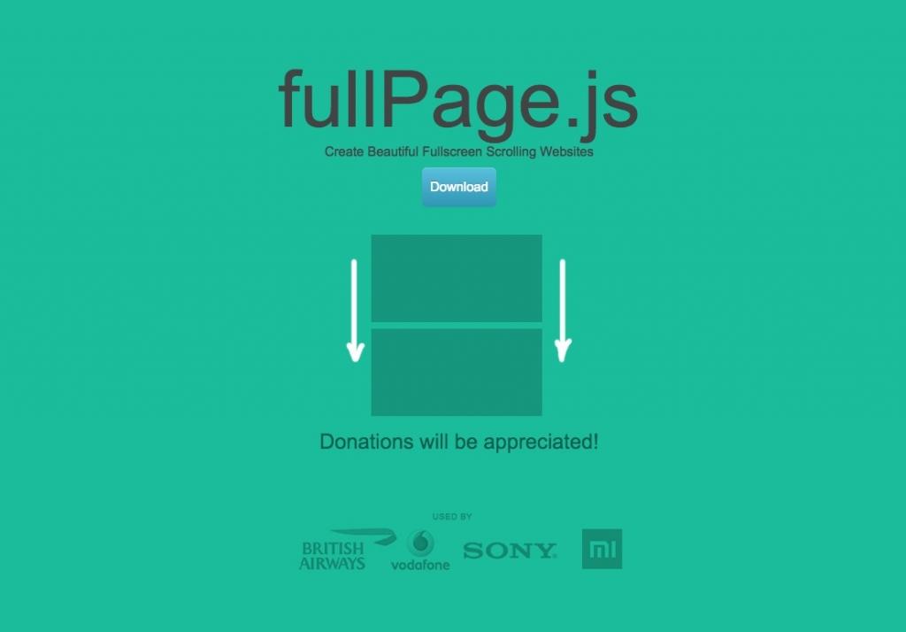 「【fullPage.js】スクロールできる全画面表示エリアを複数構築するjQueryプラグイン」のイメージ