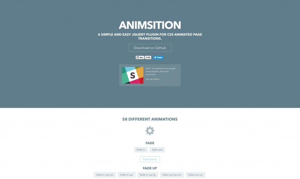 「【Animsition】ウェブサイトの遷移時にアニメーションを追加しながらページ移動ができるjQueryプラグイン」のイメージ