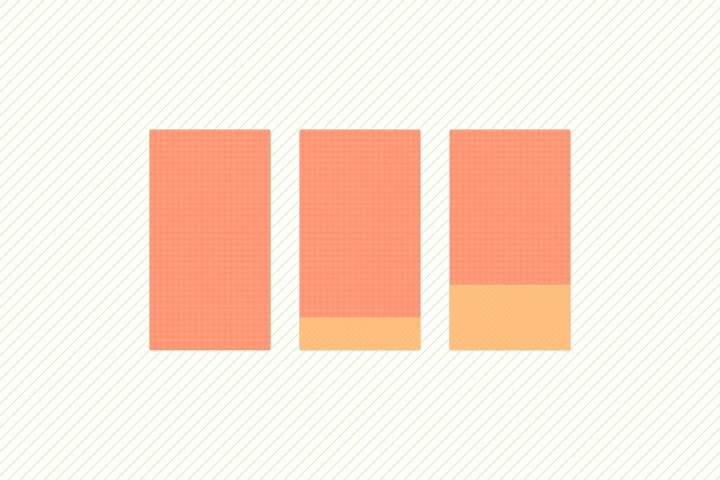 「【CSS3】CSS flexible boxを使ってバラバラの高さを持つ要素の高さを同じ高さに揃える」のイメージ