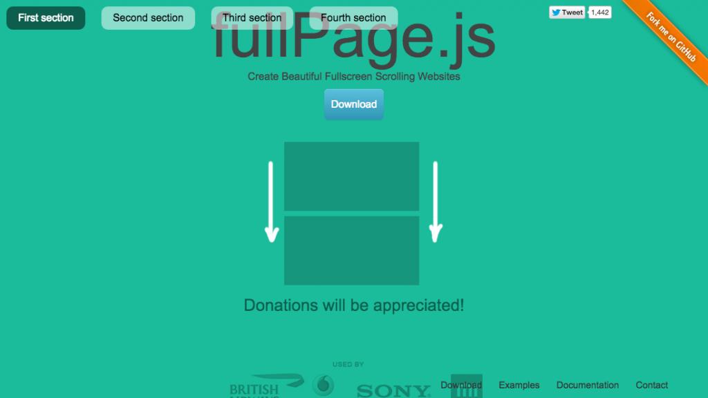 「【fullPage.js】縦にも横にもスライドして画像も動画も全画面表示できるシングルページ向けjQueryプラグイン」のイメージ